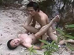 Neat Asian gays make sex in nature