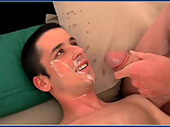 Straight boy takes a load of cum on his face
