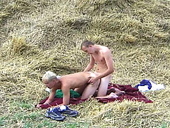 Super hot twinks fucking at the farm on a pile of hay