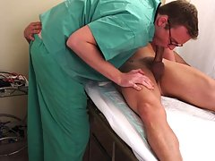Doctor plays with a guys cock