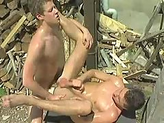Naughty country boys playing anal fuck and jizzing